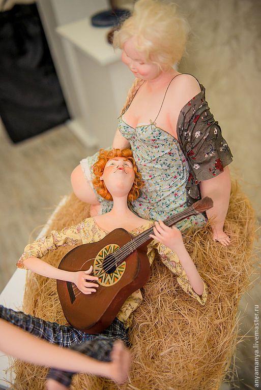 Купить нежность - нежность, авторская ручная работа, авторская кукла, колекционная кукла, сено