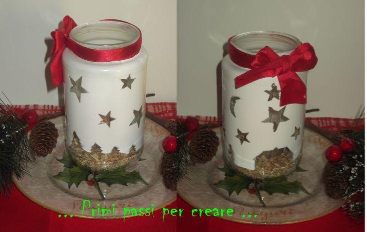 """Buona Domenica a tutte le creative!! E continuiamo con le lanterne natalizie oggi vi faccio vedere come realizzarne una con la casetta del """"Mulino Bianco"""". Innanzitutto procuriamoci un barattolo di..."""