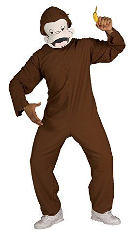 UHC Men's Storybook Curious George Monkey Funny Theme Adult Halloween Costume, STD (Up to 44) *** For more information, visit