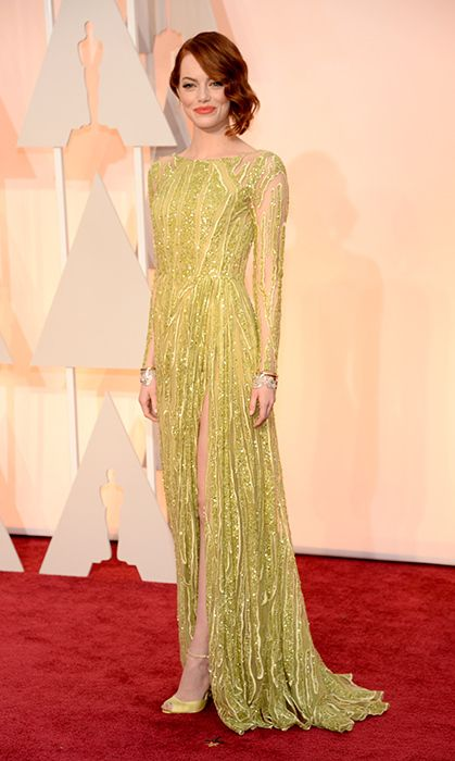 All the red carpet looks from the 2015 Oscars: Emma Stone in Elie Saab. Photo: Getty