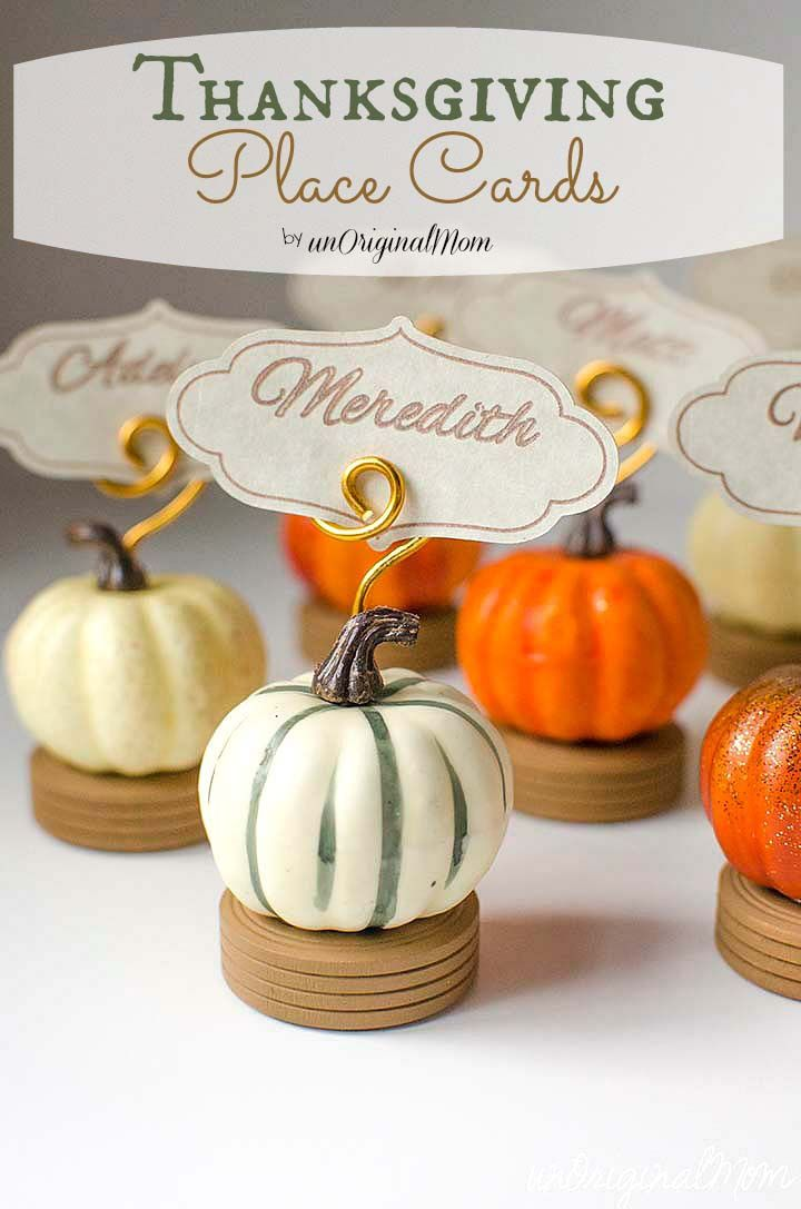 Thanksgiving Place Card Holders and Place Cards using Silhouette Sketch Pens - beautiful for any kind of fall gathering | unOriginalMom.com
