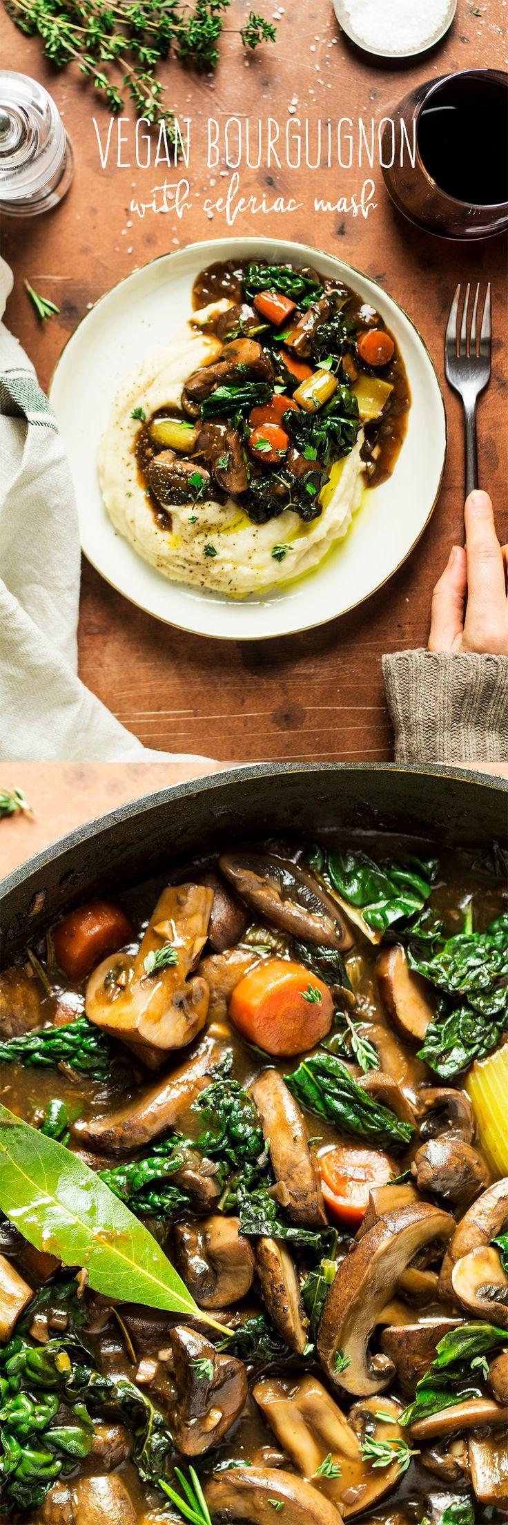 vegan mushroom bourguignon with celeriac mash
