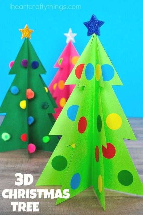 Simple and colorful paper 3D Christmas Tree Craft for kids. Fun Christmas craft for kids, paper Christmas tree craft and Christmas activities for kids. #christmascrafts #ChristmasCraft #christmastime #christmasdiy #KidsCraft