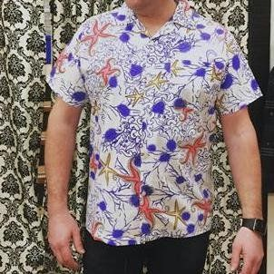 Bernie Dexter Mens Shirt in Star Fish #1950s-pin-up #50s-pin-up #bernie-dexter #online-vintage #pinup #rockabilly #vintage-clothing #vintage-inspired-clothing #wholesale