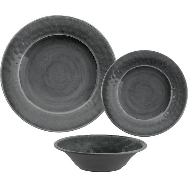 Gray Melamine Dinnerware Set 12 Piece Plastic Kitchen Outdoor Dining Plate Bowl #MelamineDinnerwareSet  sc 1 st  Pinterest & 17 best Dinnerware Sets images on Pinterest | Kitchen dining ...