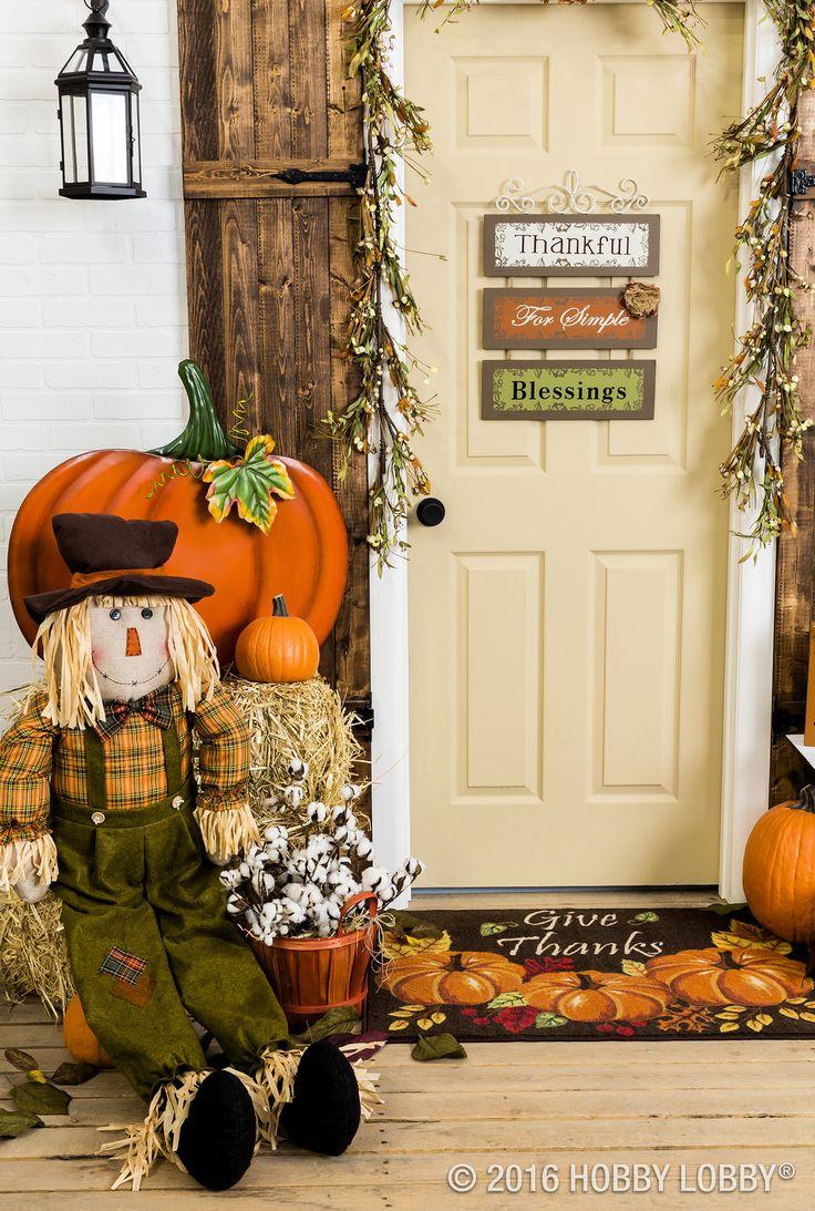 Door hanger fall front door decoration pumpkin door decoration - Fall In Love With Your Front Door Decor Add Pumpkins And Pops Of Color For