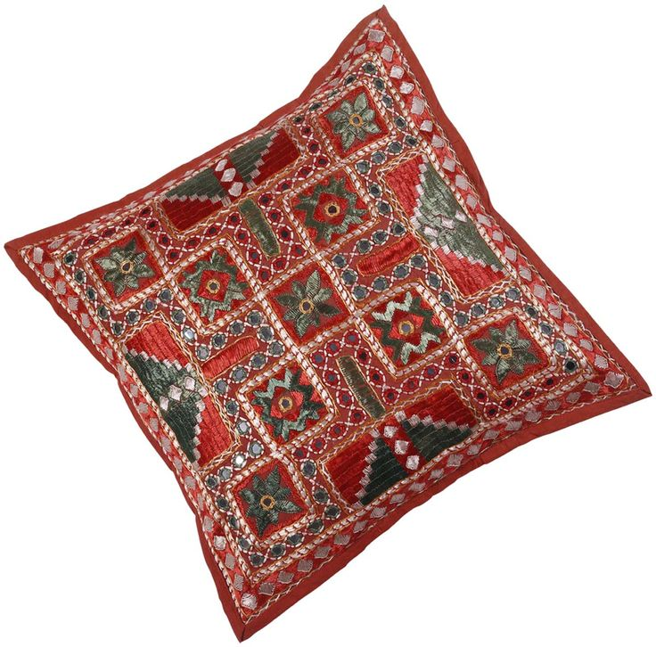 Bulk Wholesale Red & Green Cushion Cover in Pure Cotton – 16x16 Hand-Stitched Throw Pillow Cover Decorated with Embroidery and Mirrors - Pillow Case for Couches / Beds / Sofas from India  (Set of 4)