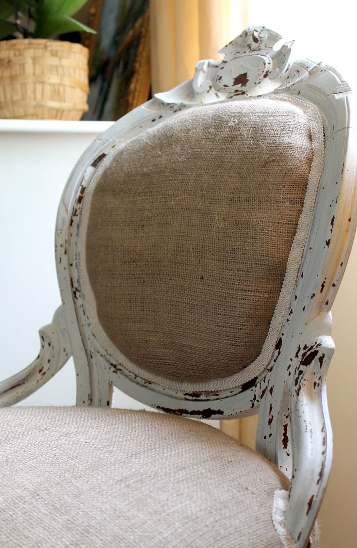 burlap chair. Love the look, but would want a fabric that looks like burlap without feeling like burlap.