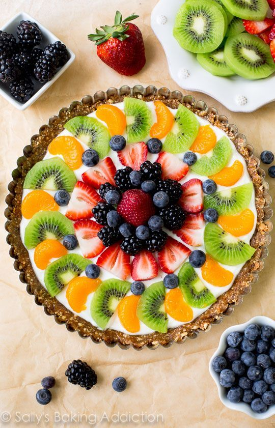 Healthy breakfast fruit tart made with a gluten free two ingredient crust, protein packed Greek yogurt, and plenty of fresh fruit.