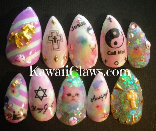 Kawaii Unicorn Kitty Cross Glitter Gel Nail Art Press on false fake nails