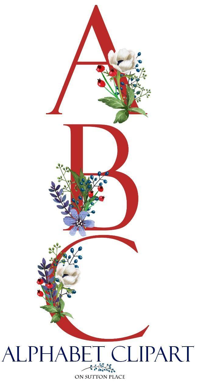 Patriotic Floral Alphabet Clipart Letters Clipart Red White