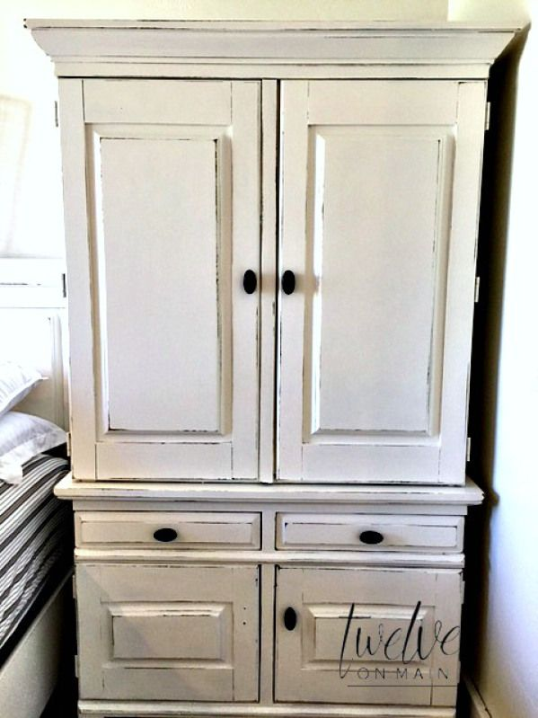 painted armoire distressed with latex paint and chalky paint additive, Johnson's paste wax                                                                                                                                                                                 More