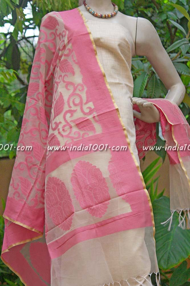 Stunning Silk Cotton Unstitched Suit fabric | India1001.com