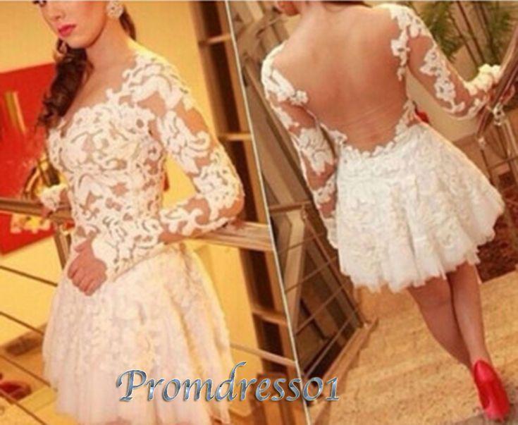 2015 prom dresses by #promdress01, cute white lace chiffon open back long sleeves short prom dress, ball gown, evening dress,bridal dress #promdress #wedding