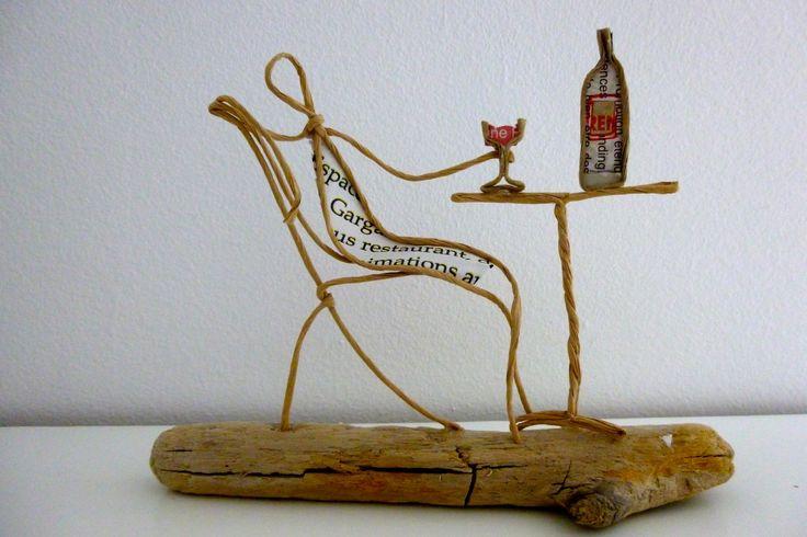 Rendez-vous au café - figurine en ficelle et papier : Accessoires de maison par ficelleetpapier