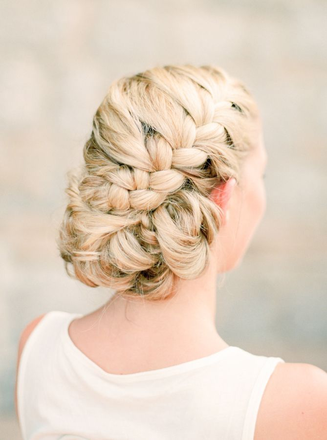 Braided wedding hairstyle: http://www.stylemepretty.com/destination-weddings/2017/01/31/destination-wedding-in-the-italian-countryside/ Photography: Stefanie Kapra - http://www.stefaniekapraphoto.com/