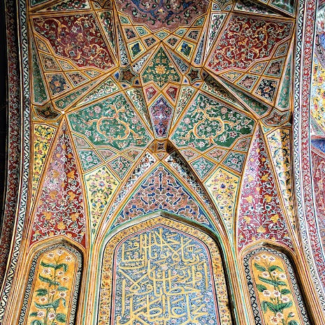 The Wazir Khan Mosque in Lahore, Pakistan, is famous for its extensive tile work and frescos. It was built in seven years, starting around 1634–1635 AD, during the reign of the Mughal Emperor Shah Jehan, by Shaikh Ilm-ud-din Ansari, a native of Chiniot, who rose to be the court physician to Shah Jahan and the governor of Lahore. The mosque is named after him as he was commonly known as Wazir Khan (the word wazir means 'minister' in Urdu.)(Text by Wikipedia).
