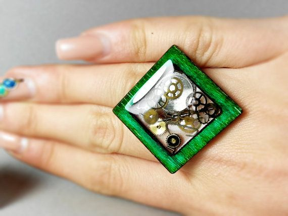 Unusual  wood steampunk ring Wooden ring Resin by ByEmilyRay