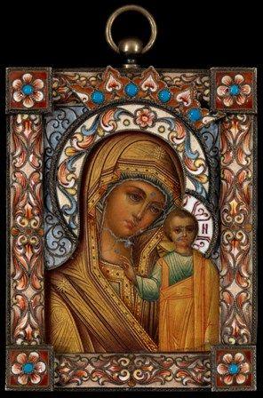 Theotokos Kazan miniature c1900 Moscow
