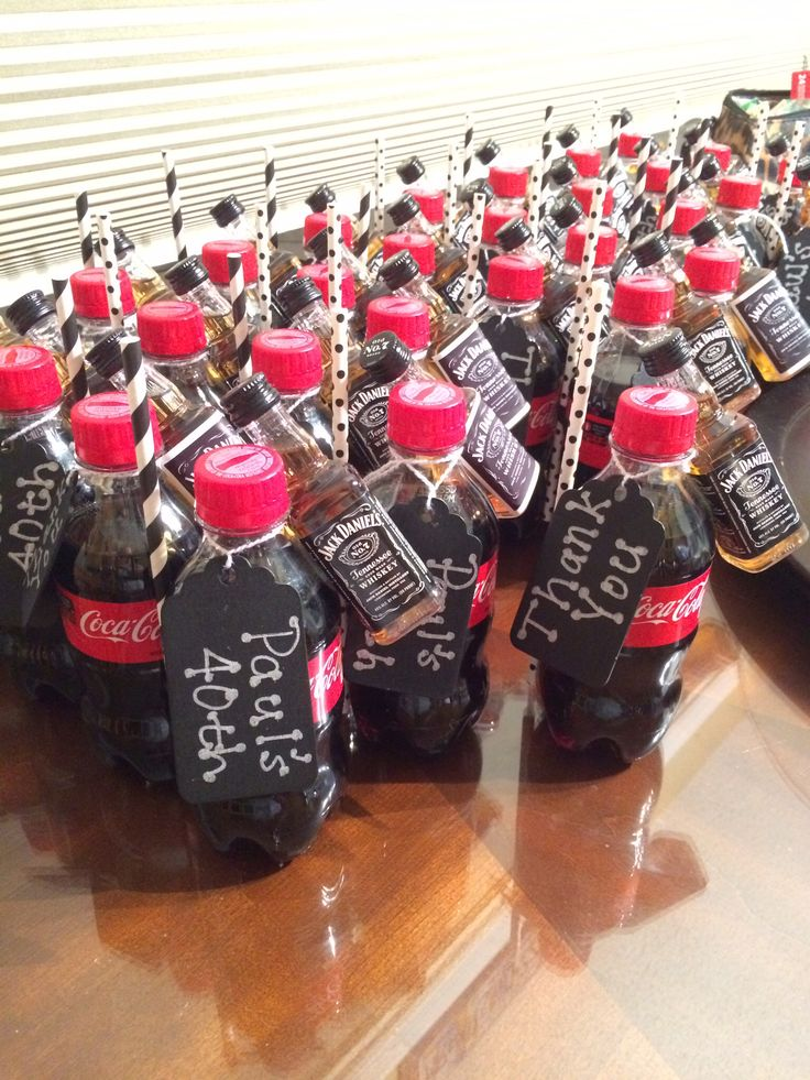 Jack Daniels party favors.. Jack and Coke and convenient straw.. 40th birthday party