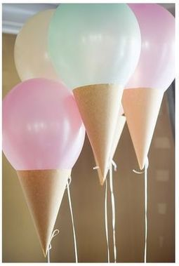 Ice cream cone balloons, perfect for an ice cream social!