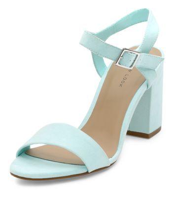 Sandales vert menthe à talons carrés et bride cheville - Newlook