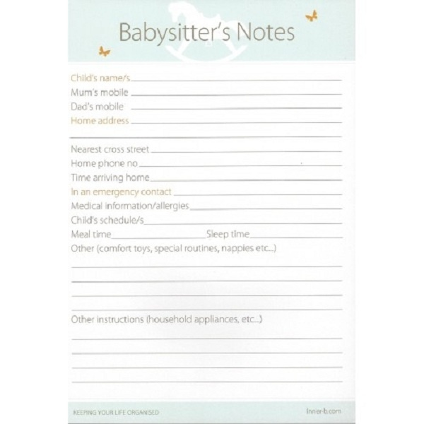 Babysitters Notepad