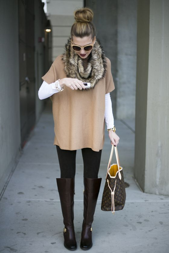 wishing for winter :: white long sleeve t, camel poncho sweater, black leggings, fur cowl, chocolate boots, oversized brown purse, peach sunglasses:
