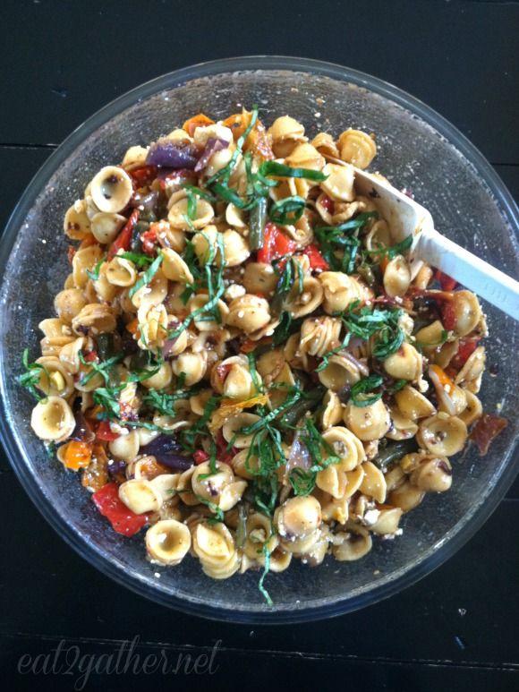 Farm Market Pasta Salad ~ Roast your favorite vegi's toss them with pasta and lemon vinaigrette..Oh and basil! Don't forget the basil! Enjoy via Eat2gather.net