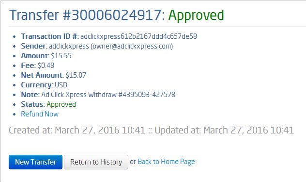 Here is my Withdrawal Proof from AdClickXpress. I get paid daily and I can withdraw daily. Online income is possible with ACX, who is definitely paying - no scam here. I WORK FROM HOME less than 10 minutes and I manage to cover my LOW SALARY INCOME. If you are a PASSIVE INCOME SEEKER, then AdClickXpress (Ad Click Xpress) is the best ONLINE OPPORTUNITY for yor