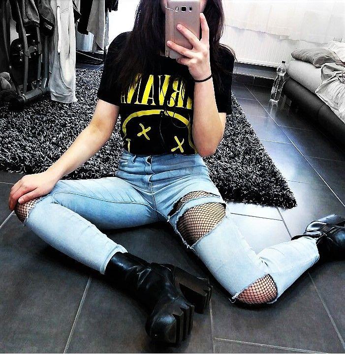 Nirvana printed black shirt, ripped denim jeans, fishnet leggings & platform shoes by kittenbaee