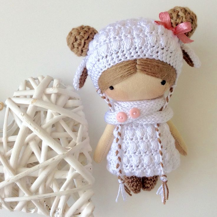 Doll - sewn with a crocheted outfit