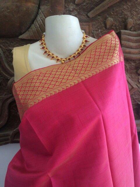 Pink semi tussar silk saree