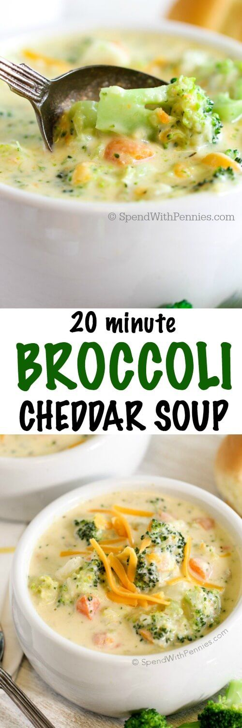 20 Minute Broccoli Cheese Soup! This delicious soup is made from scratch in just 20 minutes! The perfect meal to warm you from the inside out on a chilly day!