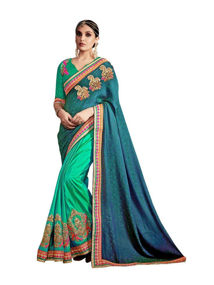 India Ethnic Designer Wear Bollywood Saree Premium Wedding Wear Saree Green Blue #RadhaKrishnaExports #BollywoodSaree #PremiumWeddingWear