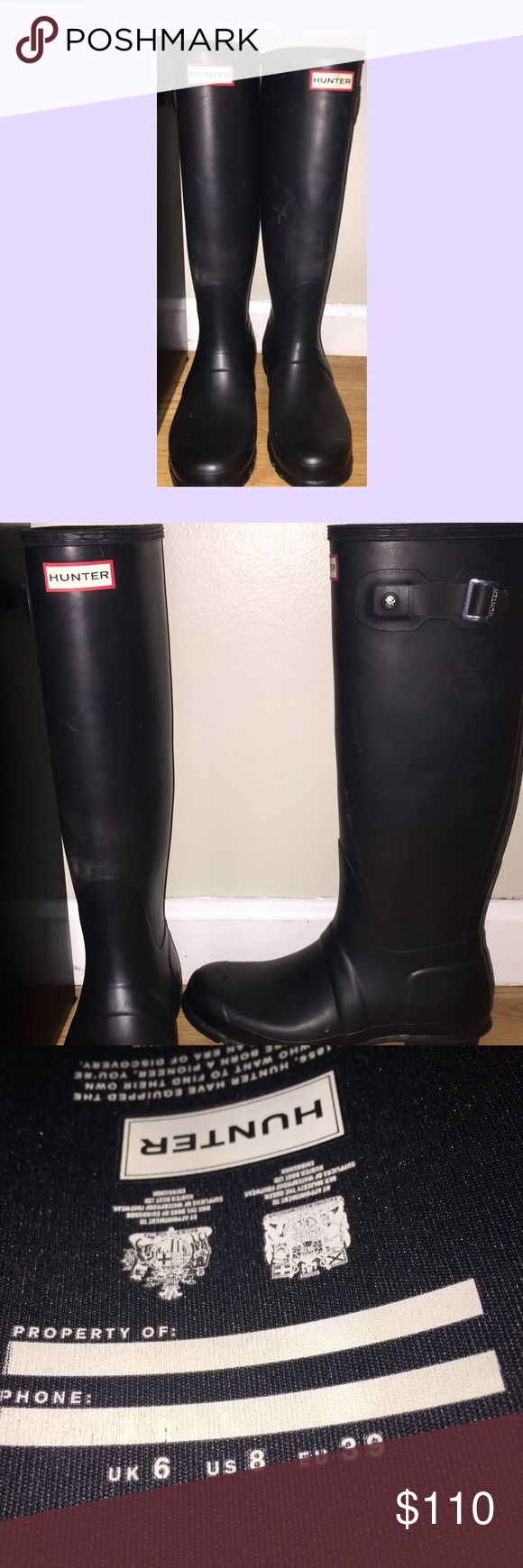 Original Tall Hunter Rain Boot Matte Black size 8 Only worn a handful of times. In perfect condition. Do not have original box anymore. Hunter Shoes Winter & Rain Boots