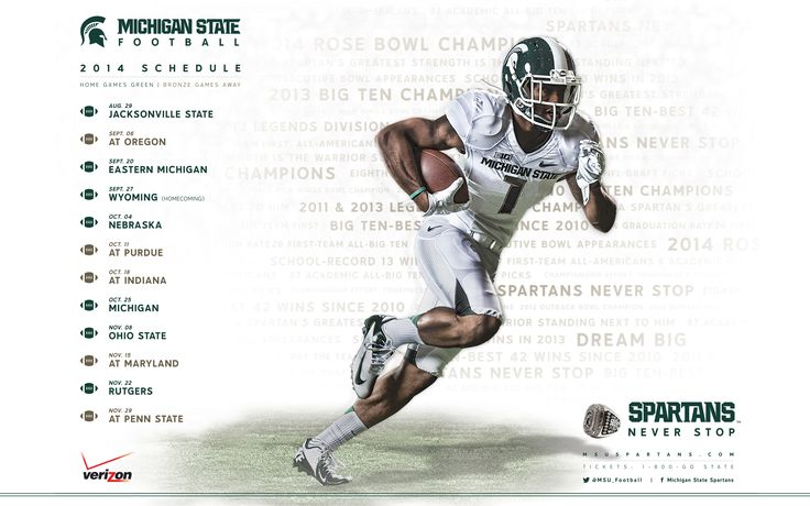 Get a free download of the 2014-15 MSU football schedule for your phone or iPad. #spartans #gogreen http://www.msuspartans.com/ot/posters.html