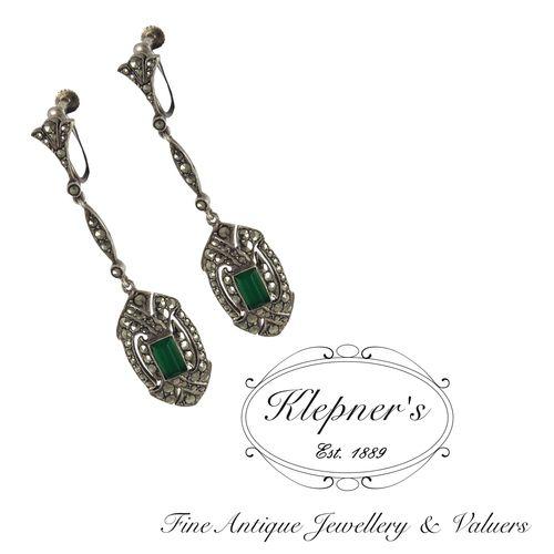 Sterling silver vintage marcasite & chalcedony drop earrings. Visit us at ww.klepners.com.au