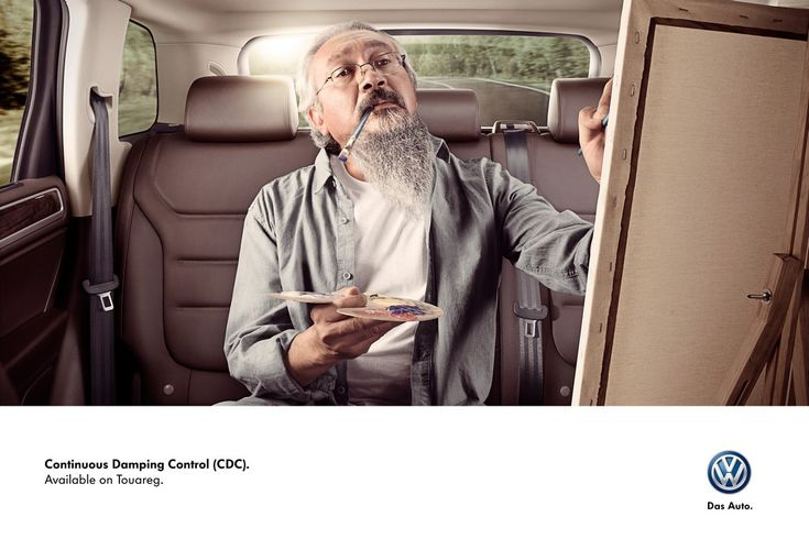 Volkswagen Touareg: Painter     Continuos Damping Control (CDC).     Available on Touareg.  Advertising Agency: DDB, Mexico City, Mexico