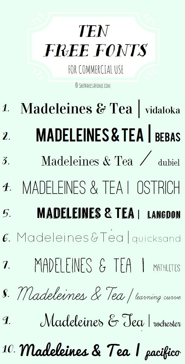 Top 10 free, commercial-use fonts   via She Makes a Home