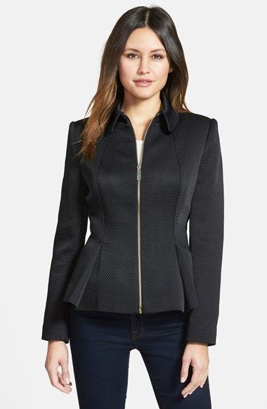 Ted Baker London Textured Peplum Jacket - princess seam from neckline to peplum inverted pleat