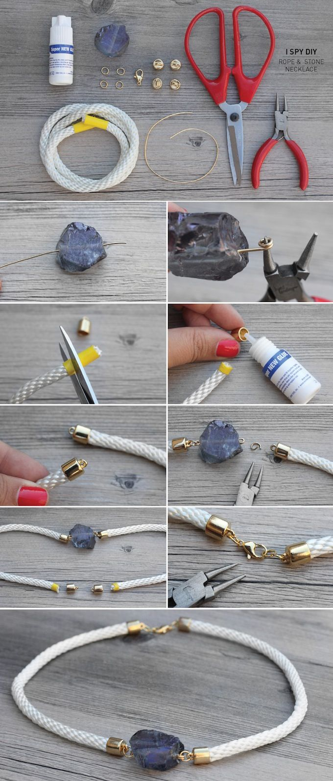 I Spy DIY: MY DIY | Stone & Rope Necklace; this would really be nice with a leather rope