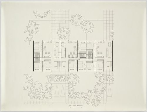"Pavilion Apartments and Town Houses, Lafayette Park, Detroit, MI, Plan  Ludwig Mies van der Rohe (American, born Germany. 1886–1969)    1955-63. Ink on acetate, 28 1/4 x 37"" (71.8 x 94 cm). Mies van der Rohe Archive, gift of the architect. © 2012 The Museum of Modern Art, New York"
