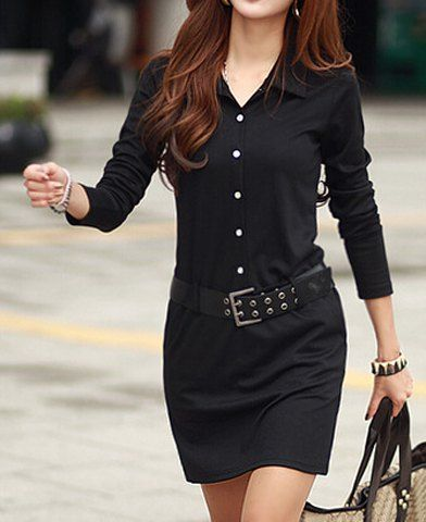 Simple Turn-Down Collar Long Sleeve Solid Color Button Design With Belt Women's Dress Long Sleeve Dresses | RoseGal.com Mobile