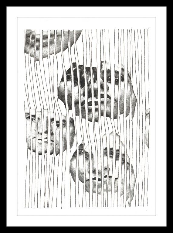"Black and White Print: ""Captured Too"" - Black and white print of original collage featuring strips of three faces behind bars of a cage. A5"
