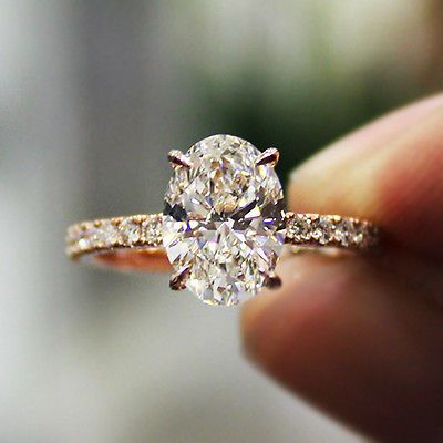 2.30 Ct. Natural Oval Cut Pave Diamond Engagement Ring - GIA Certified
