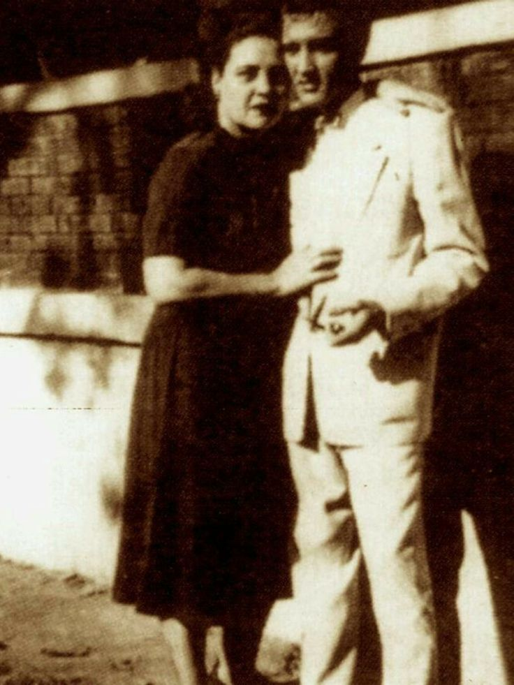 Elvis and Gladys taken the day he graduated high school 1953.