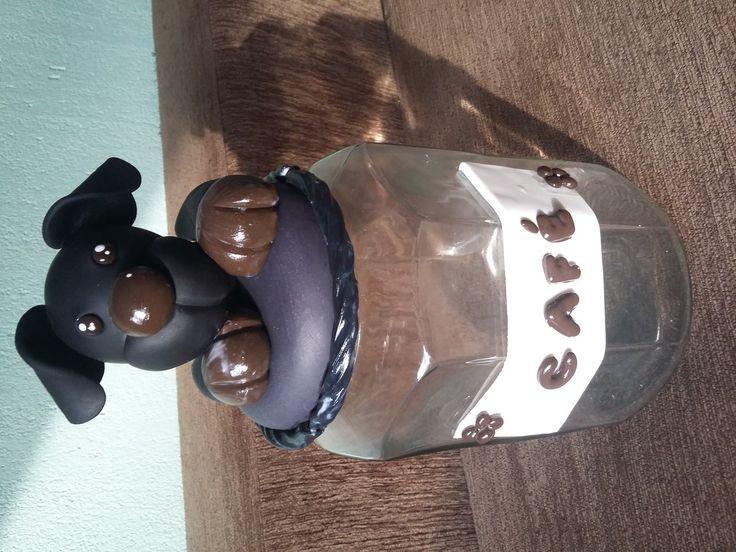 Potes de vidro decorados com biscuit, tema Dog.    Personalizo como quiser, faço o personagem que preferir!    Envio para todo o Brasil!    Valor do frete não incluso no valor do anúncio.