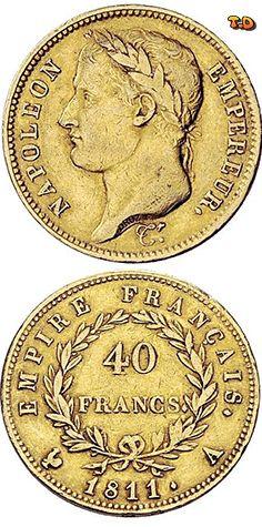 N♡T. Napoleon I. 1804-1815  40 Francs 1811 -Paris-. Gad. 1084, Fr. 505. 12,91 g