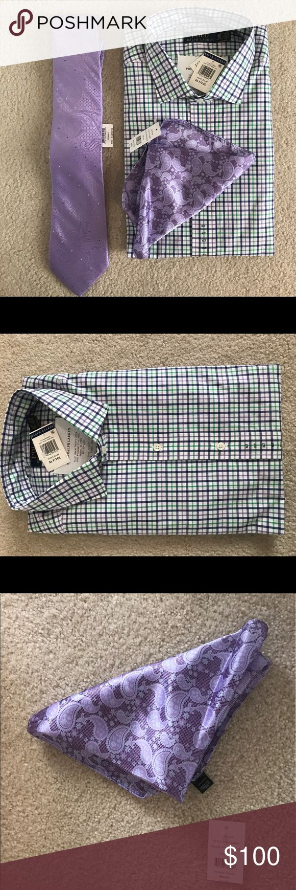 Men's Polo Dress shirt set XLT Brand new with tags and receipt! XLT polo dress shirt set with new tie and handkerchief. Message if you want to buy an item separately. Polo by Ralph Lauren Shirts Dress Shirts